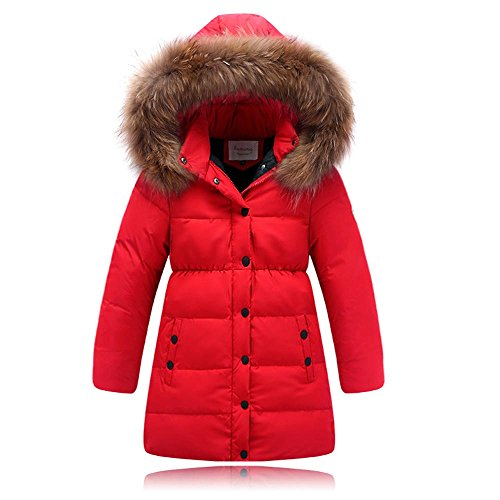 Seeduck Big Girls' Winter Parka Down Coat Puffer Down Jacket Padded Overcoat with Fur Hood (5T=120CM=47.2 Inch, Red) (Down Jacket Kids compare prices)