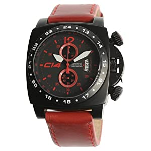 Carbon 14 Men's A1.2 Air Avionautic Chronograph Black and Red Dial Watch