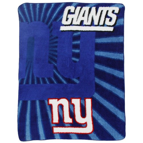 "NFL York Giants 50-Inch-by-60-Inch Sherpa on Sherpa Throw Blanket ""Strobe"" Design at Steeler Mania"