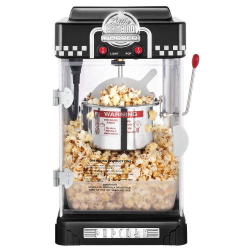 Great Northern Black Little Bambino 2-1/2-Ounce Table Top Retro Style Popcorn Popper
