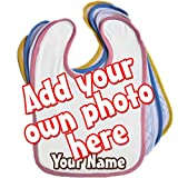 Add Your Own Photo Personalised Baby Bib Blue Pink Yellow or White