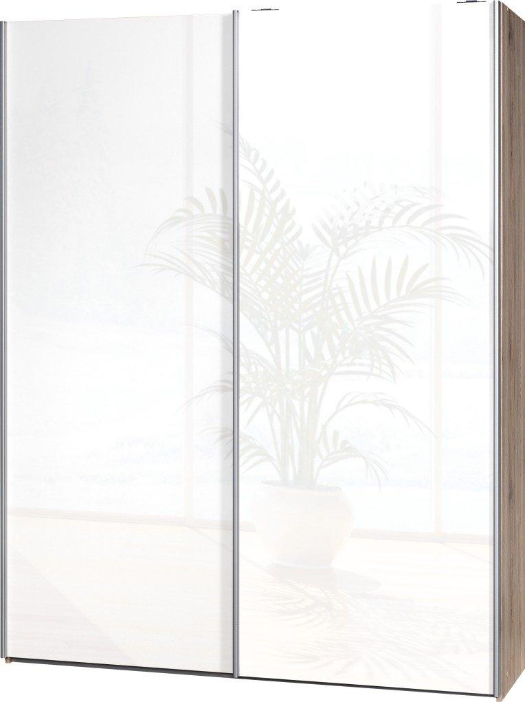Schwebetürenschrank Soft Plus Smart Typ 41″, 150 x 194 x 42cm, Sanremo hell/2 x Weiß hochglanz