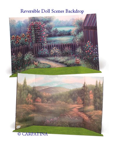 """Doll Scene Backdrop - Reversible Summer To Fall - Fits 18"""" American Girl Dolls"""