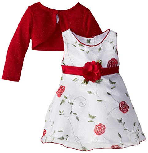 Youngland Little Girls' Flower Printed Occasion Dress, White/Red, 2T