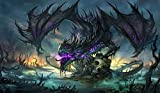 "Zombie Dragon TCG playmat, gamemat 24"" wide 14"" tall for trading card game smooth cloth surface rubber base"