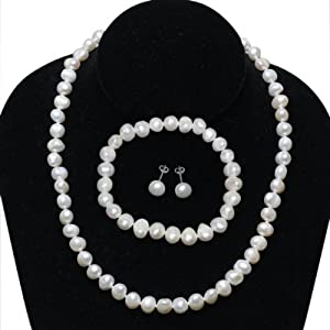 Freshwater White Pearl Sterling Silver Necklace Earrings Bracelet Set