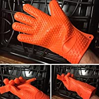 Homaker Silicone BBQ Gloves 482F Heat Resistant Oven Mitts Grill Gloves for Baking, Smoking, Potholder Bonus basting brush(SG-001-K)