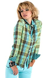 Turq/lime plaid shirt