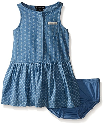 Calvin Klein Baby-Girls Discharge Printed Denim Sleeveless Dress, Blue, 18 Months