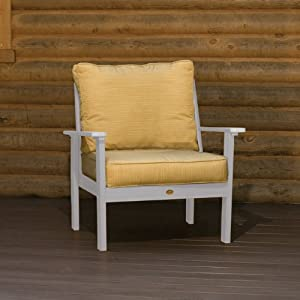 Highwood Furniture Pocono Deep Seating Armchair Toffee With Sunbrella Dupione Palm Cushions by Highwood USA