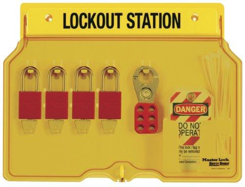 Master Lock 4-Padlock Capacity Lockout Station with Cover, Includes 4 Aluminum Padlocks
