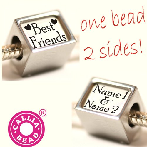 1 Pandora style Personalised bead with the Best Friends names of your choice - let us have the names as a gift message. Ready in days from the UK. Fit Troll, Pandora etc