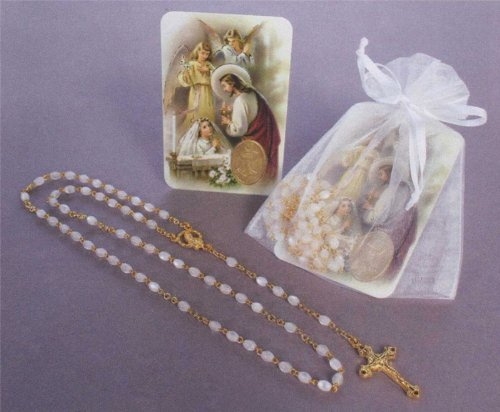 First Communion Remembrance - Gold Plated Rosary in White Gift Package with RCC Holy Gift Card for Girl