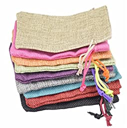 10pcs/lot 10*14cm Small Jute Pouch linen Hessian hemp drawstring small gift packaging Bag Wedding ring jewelry packing pouch