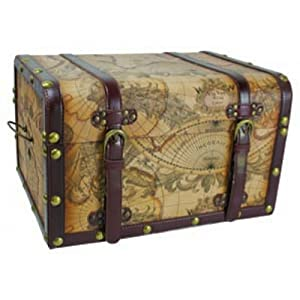 Nautical Map Trunks Set of 3 - Coastal Furniture - Nautical Decor - Nautical Home Decoration