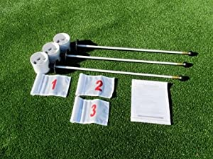 Deluxe Putting Green Accessory Kit - (3) PGA Plastic 4 Inch Cups & (3) Pin... by TJB