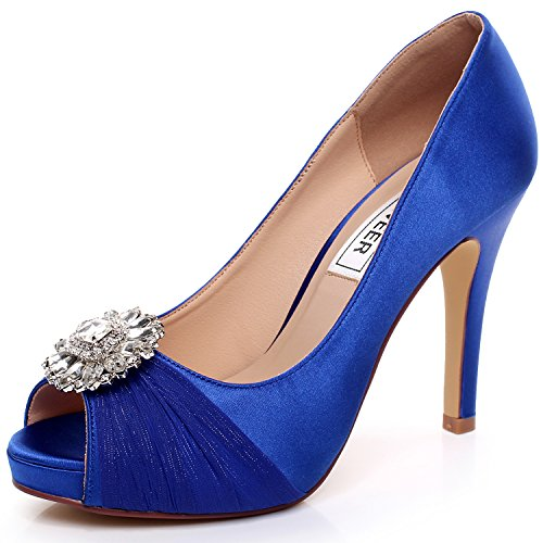 LUXVEER Royal Blue Lace Wedding Shoes Combining Satin Lace and Rhinestone Brooch High Heel 4.5inch-Peep Toe-EUR41