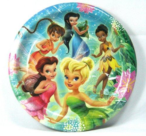 "Disneys Fairies and Tinkerbell Birthday Party Supply 8 Pk Luncheon Dinner Plates Hallmark Birthday Party Supply 8 3/4"" Diameter - 1"