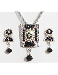Black With White Stone Studded Pendant With Chain And Earrings - Stone And Metal