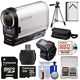 Sony Action Cam HDR-AS200VR Wi-Fi HD Video Camera Camcorder & Live View Remote with 32GB Card + Battery + Case + Tripod Kit