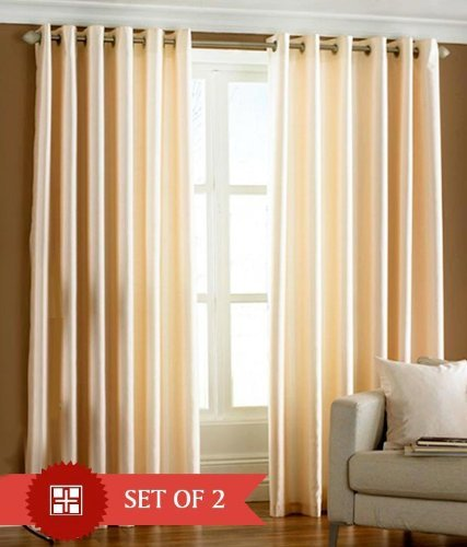 """Home Candy Eyelet Fancy Polyester 2 Piece Door Curtain Set - 84""""x48"""", Cream (SOE-CUR-120_120)"""