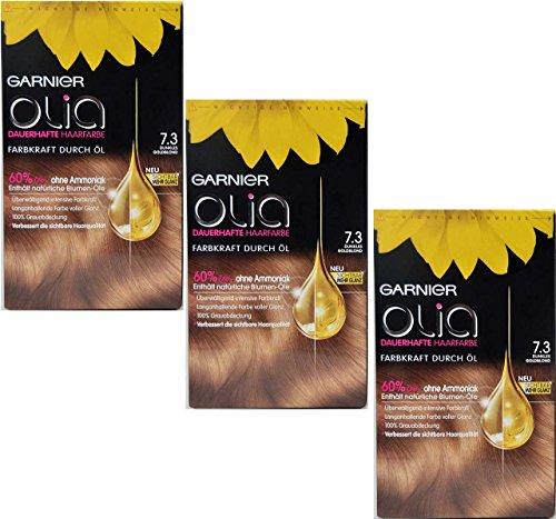 3x Capelli Garnier Olia, colore 7,3Biondo Dorato Scuro, contiene 60% fiori oli-senza ammoniaca