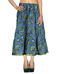 Bohemian Casual Skirt Cotton Blue Floral Printed Womens Skirts By Rajrang