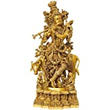 Exotic India Venugopala (Pedestal Engraved With The Bal Leela Of Krishna) - Brass Statue