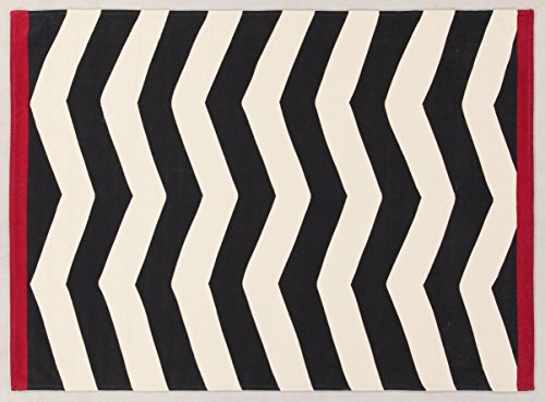 Viva Ikat Tappeto, Cotone, Bianco/Nero, 140x200x2.8 cm