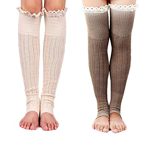 Spring Fever Crochet Lace Trim Cotton Knit Leg Warmers Boot Socks(Beige & Khaki) Crochet Baby Booties Free