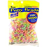 Pony Beads, Glow-in-the-Dark Colorful Mix, 6 x 9mm, 1000pc Pkg