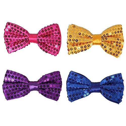 Bmc 4 Pc Mens Formal Tuxedo Solid Color Pre-Tied Adjustable Sequin Neck Tie Bowties - Set 2: Brights