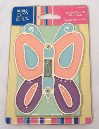 Butterfly Single Switch Wall Plate, Pastel Mix, Restore & Restyle Kids Line From Target - 1