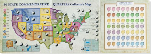 50 State Commemorative Quarters Collector's Map: Including the District of Columbia and the U.s Territories