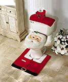 Ohuhu Christmas Santa Toilet Seat Cover, Toilet Paper Box Cover and Rug Set