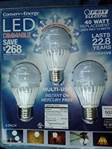 FEIT Electric LED Light Bulb A19 3 Pack 40W Replacement Uses 7.5W 500 Lumens Dimmable