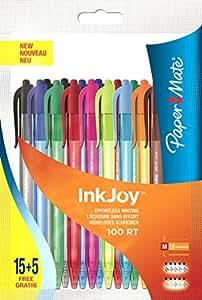Paper Mate Inkjoy 100 RT Stylo Bille Rétractable Pointe Moyenne Assortiment Fun, Lot de 20