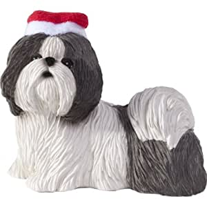 Sandicast Silver and White Shih Tzu with Santa Hat Christmas Ornament