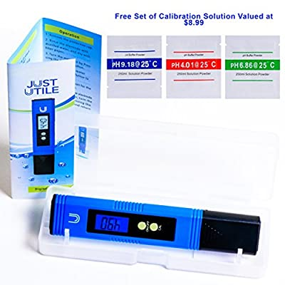 Digital pH Meter - Ideal For Water, Aquarium, Pool, Hydroponics and more - High Accuracy Tester with Blue Backlit Display. Comes with a Free Set of Calibration Solution - By Just Utile