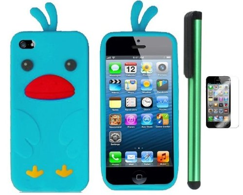 =>>  Sky Blue Funny Duck Silicone Skin Premium Design Protector Soft Cover Case Compatible for Apple Iphone 5 (AT&T, VERIZON, SPRINT) + Screen Protector Film + Combination 1 of New Metal Stylus Touch Screen Pen (4