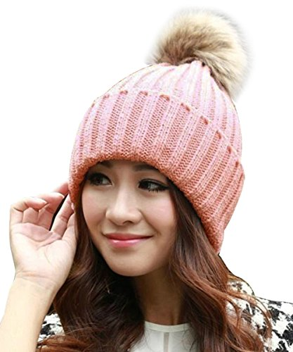 ISASSY Women's Winter Warm Fur Knit Knitted Bobble