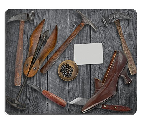 Luxlady Gaming Mousepad IMAGE ID: 34692849 vintage ladies shoe and shoemakers tools over wooden table space for your text on
