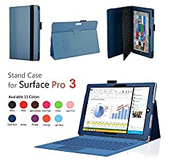 Elsse (TM) Premium Folio Case with Stand for Microsoft Surface Pro 3 (Keyboard and Tablet NOT included) (Surface Pro 3, Dark Blue)