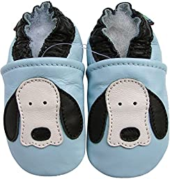 Carozoo baby boy shoes soft sole leather infant toddler kids slippers Dog Long Ear Light Blue 6-12m