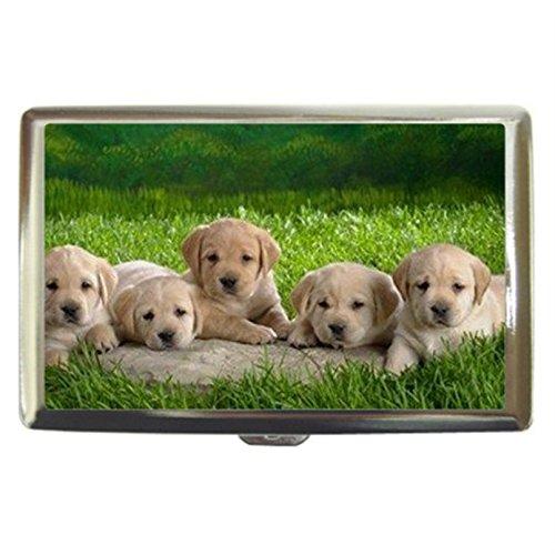 Golden Retriever Puppy Dog Custom Business Name Card Money Credit Card Holder Box Case front-990710