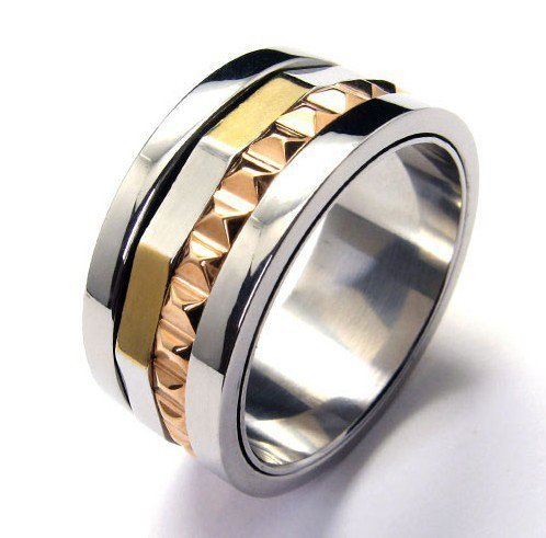CET Domain SZ11-1081-9 Mens Gold Titanium Steel Silver Gear Ring-Size 9