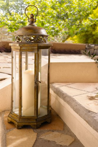 Candle Lantern – Large Metal Moroccan Hanging Candle Lantern, Clear Glass Product SKU: CL221885