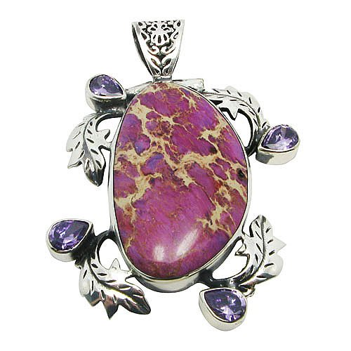Tungsten Love Purple Seabed Gemstone Pendant Necklace in Platinum Plated