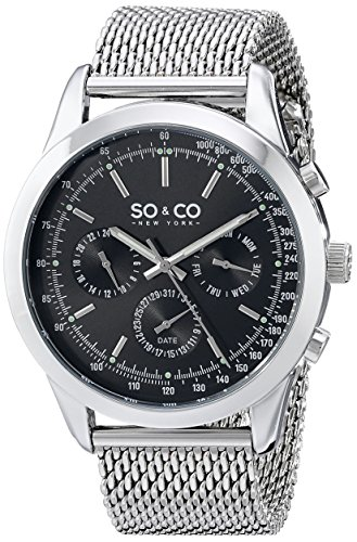 SO & CO New York Monticello Men's Quartz Watch with Black Dial Analogue Display and Silver Stainless Steel Bracelet 5006A.1