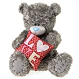 Me to You, Tatty Teddy, Grey Teddy Bear Holding A 'Love' Cushion, Sits 20